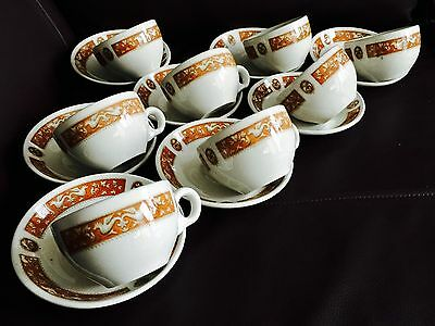 "Rare Vintage Heavy Maddock ""Florentine"" Ultra Vitrified China Cup & Saucer Sets"