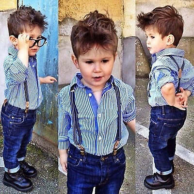 2Pcs Baby Boys Long Sleeve T-shirt + Denim Pants Set Kids Casual Clothes Outfits
