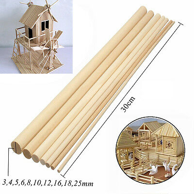 10pcs 30cm DIY Wooden Arts Craft Stick Dowels Pole Rods Sweet Trees Wood Tools