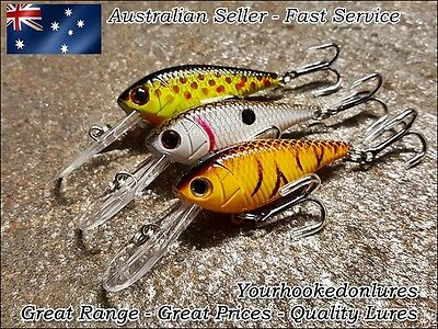 3 x Deep Diving Lures Redfin, Trout, Yellowbelly, Flathead, Cod, Perch, Bream
