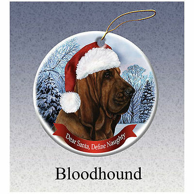Bloodhound Howliday Porcelain China Dog Christmas Ornament