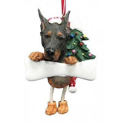 Doberman Pinscher Dangling Wobbly Leg Dog Bone Christmas Ornament