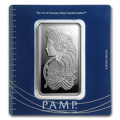 PAMP Suisse Lady Fortuna 100 g gram .999 Silver Bar (in Assay)
