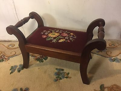 """FootStool Antique 19""""W,12""""H 10""""D.Embroyderd Cover.C10Pics4Size/detail.MAKE OFFER"""