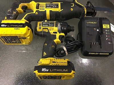 Stanley 18V 4,0Ah Reciprocating Saw (Fmc675-Xe) & Fmc645-Xe Impact Driver