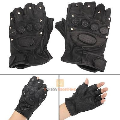 Motorcycle Bike Military Tactical Cycling PU Leather Half Finger Gloves Mittens