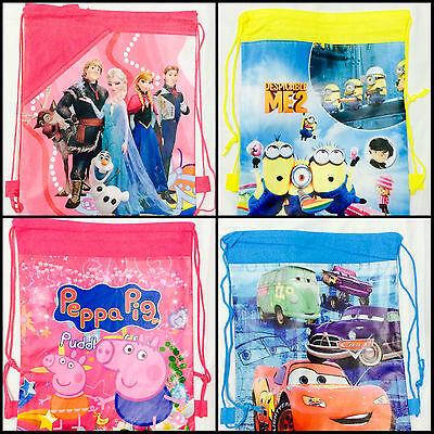 Minion Frozen Peppa Pig Mickey Cars Bag Drawstring Backpack Library School gift