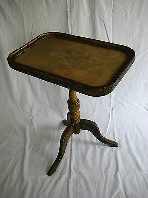 Antique Wood Folding End Table with Needlepoint Framed Top