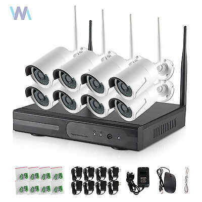 Night Vision  8CH NVR 720P WiFi Wireless Outdoor IR Home Security Camera System