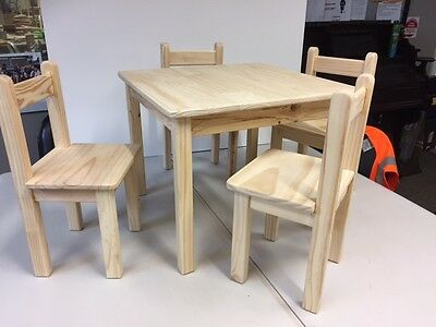 """""""Handmade"""" Children / Kids Wooden Table and 4 x Chairs Set  -Ideal Gift"""