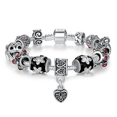 Silver Plated European Charm Bracelet Love Heart  Dangle Rhinestone Studded Girl