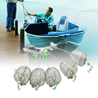 5x Stainless Steel Wire Fishing Lure Cage Fish Bait Trap Basket Tackle Creative