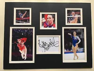 """Gymnastics Beth Tweddle Signed 16""""x12"""" Double Mounted Picture Display"""