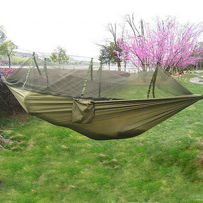 New Single Person Portable Parachute Fabric Mosquito Net Hammock Indoor Outdoor