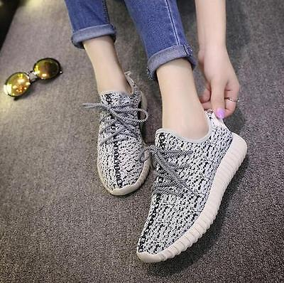 Women ladies Gray Sneakers Casual Sports Athletic Running Shoes Xmas Gift YEEZY