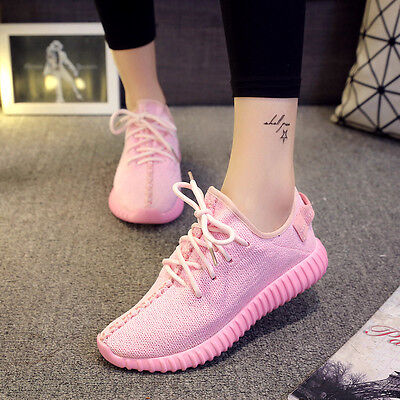 Women Pink Yeezy Kanye West Inspired Trainers Sports Running Shock Sneaker Shoes