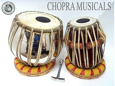 Tabla Drum Pro Brass Bayan Nickel Wood Dayan Ring + Hammer + Box Ship Free!