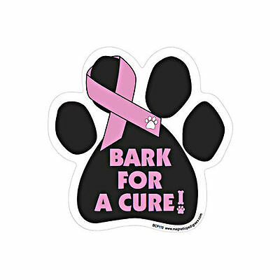 Bark For A Cure Breast Cancer Awareness Dog Paw Car Magnet