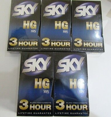 Pack of 5 Sky 3hour 180min HG vhs tapes sealed