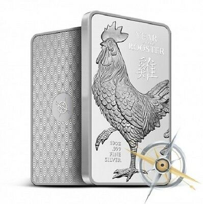 2017 Year of the Rooster 1 oz .999 Silver Bar