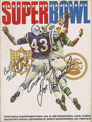 SUPER BOWL III Program - Signed on cover by Joe Namath and Weeb Ewbank