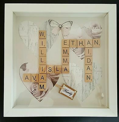 Handcrafted *PERSONALISED* SCRABBLE Word Art Frames. Familys. Birthday. Wedding.