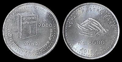 Newly Issued : CONSTITUTION OF NEPAL - VS 2072 Commemorative Silver Coin, UNC.