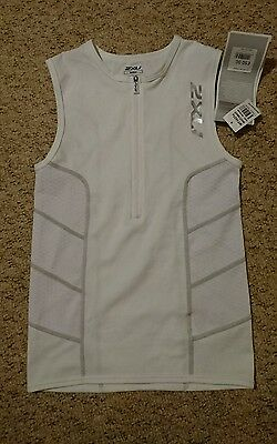 mens white 2xu tri top running singlet size medium