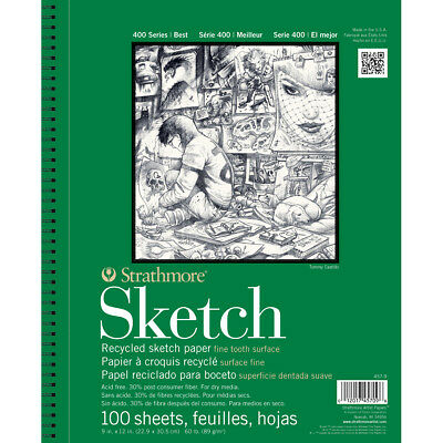 """Strathmore Sketch Spiral Paper Pad 5.5""""X8.5"""" 100 Sheets 457500"""