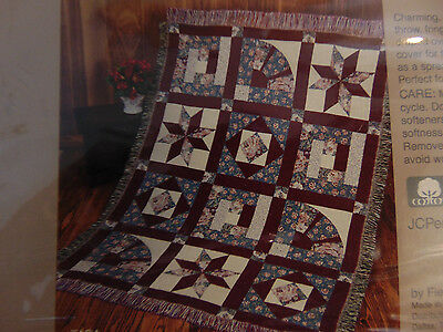 ~100% Cotton Throw Blanket Toss Tapestry Star Blanket Fieldcrest Country Cottage