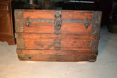 Vintage STEAMER TRUNK box wood chest coffee table base old antique