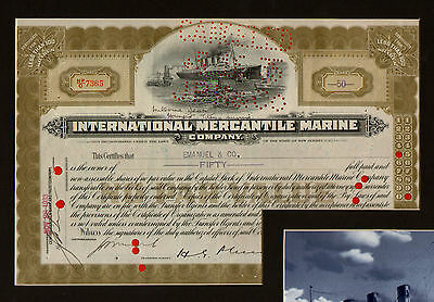 TITANIC survivor signed Share Certificate of White Star owning company.UACCRD
