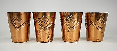 Set of 4 Vintage Signed Victoria Mexico Taxco Copper Shot Glasses c1940s
