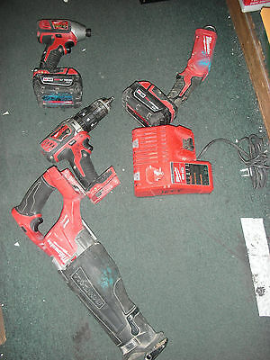 Milwaukee M18 4 Tool Set 2656-20, 2607-20, 2352-20, 2720-20, 2 batteries,Charger