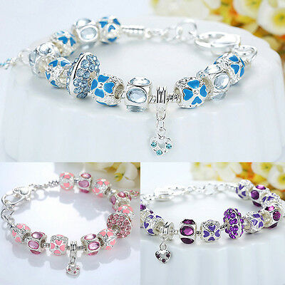 Silver Plated European Charms Bracelet Dangle Diamante Love Heart Crystal Bangle