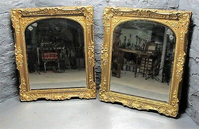 "Fine Pair of Huge Mid-19th C. FRENCH GILT WOOD MIRRORS  46"" x 39""  antique"