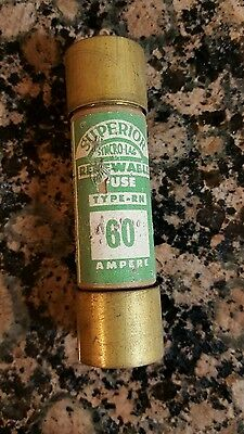 1 Superior 60 Amp 60 Ampere Type Rn Renewal Fuse - New Old Stock