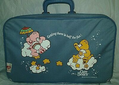 Vintage 1980s Care Bears Blue Suitcase Childrens Luggage Soft Canvas