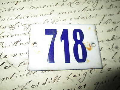 Antique French Enamel Metal Door House -Gate Number Sign white& blue 718