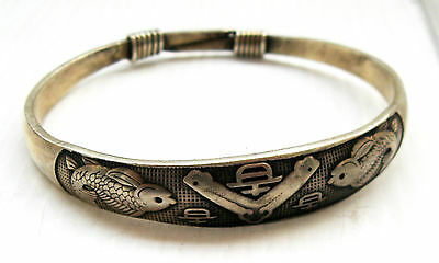 Old Hmong Hill Tribe Unisex Silver Bracelet Fish Design (approx 35g)