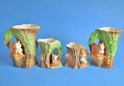 Withernsea Fauna Pottery - Squirrel Pair No.75 - Rabbit No.20 & Fawn No.58 Jugs