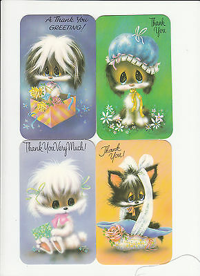 Pack of 4 Vintage Retro Kitsch 1970's Thank You Greeting Cards & Envelopes