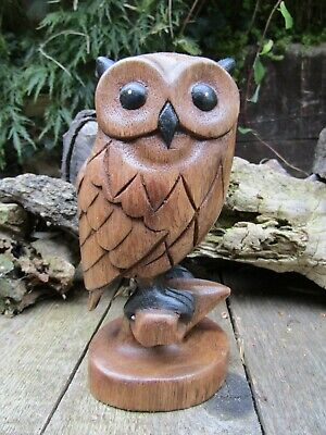 FairTrade Hand Carved Made Wooden Owl On Perch Bird Carving Sculptures Ornament