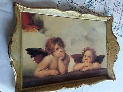 "10"" X 14"" Wood Cherub Angel Tray Goldtone Made In Italy"