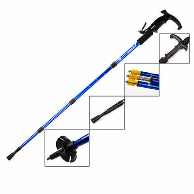 2 x Antishock 4 Section Adjustable Telescopic Trekking Walking Hiking Stick Pole