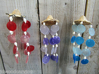 Fair Trade Hand Made Padi Hat Capiz Shell Abstract Wind Chime Windchime Mobile