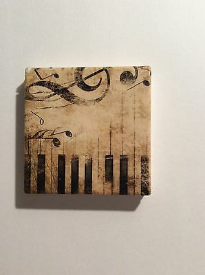 """Brand New  Absorbent Stone Coaster 4''diameter  Music Notes """" Style #35"""