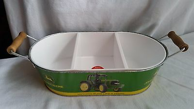 John Deere 3 Section Serving Dish With Handles-White Insert Can Be Removed-Clean