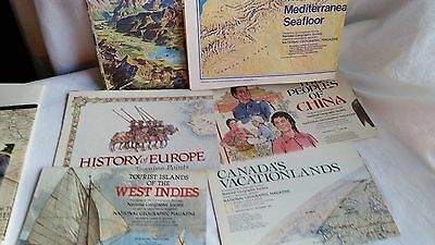 Lot Of 14 Overseas & U.s. National Geographic Maps-Some Vintage-1957-1991