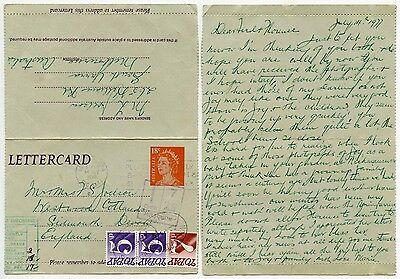 AUSTRALIA LETTERCARD POSTAGE DUE in GB SURCHARGE